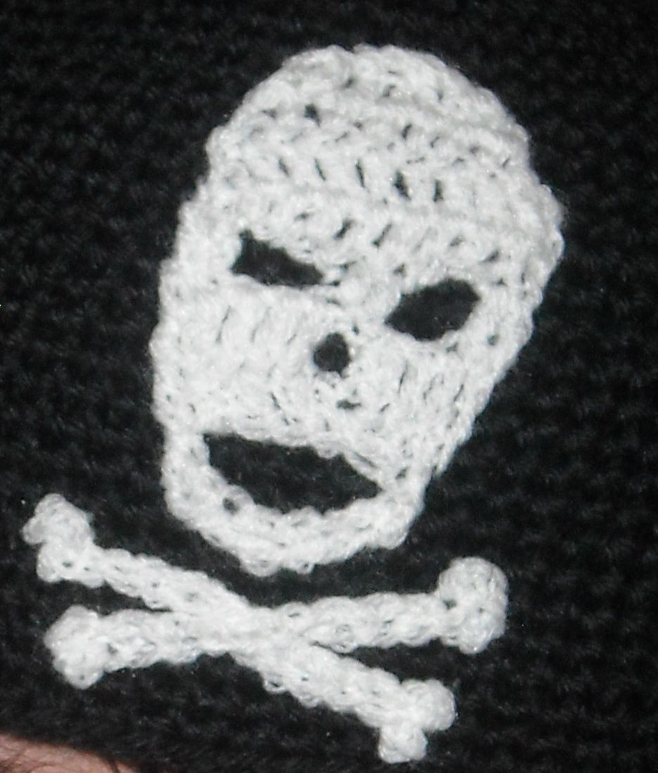 Crochet Pattern for Skull with Crossbones Applique